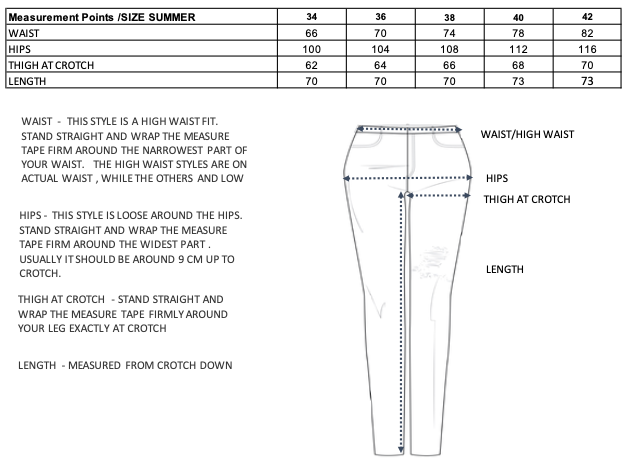 no44 summer size guide